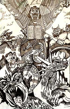 Kingu con el ejercito de Tiamat
