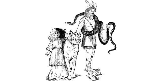 loki y sus hijos: Serpiente Midgar, Hel y Fenrir